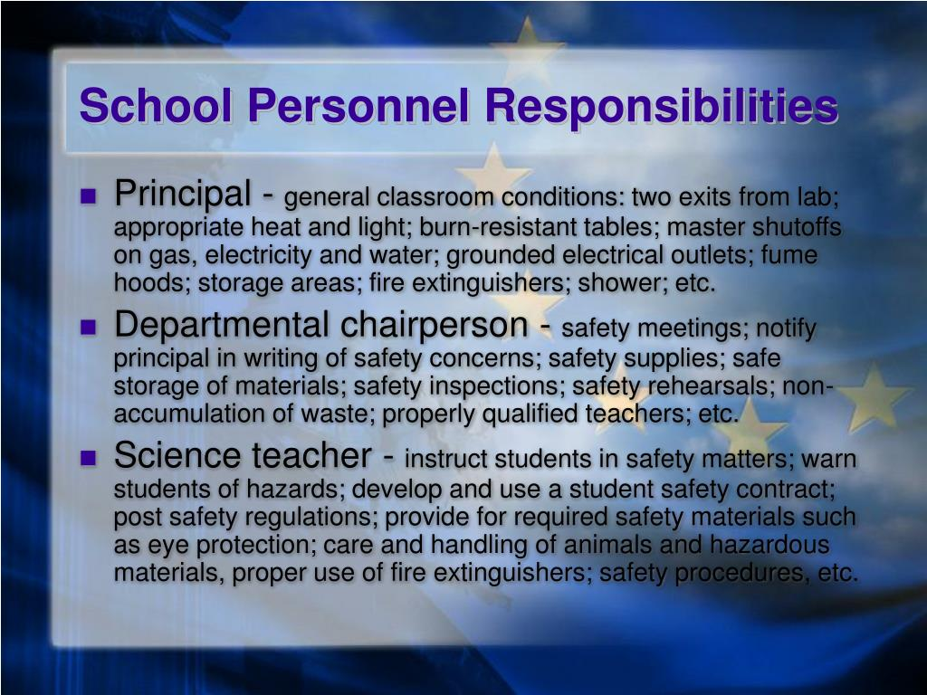 School Personnel Responsibilities