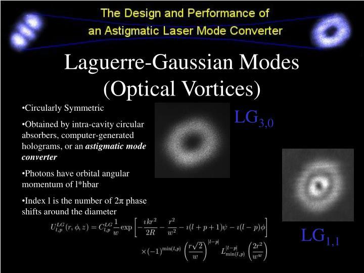 Laguerre-Gaussian Modes (Optical Vortices)