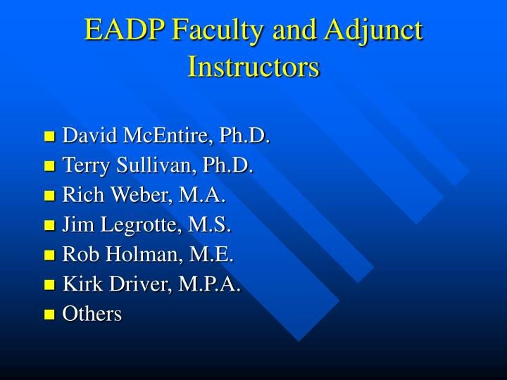 EADP Faculty and Adjunct Instructors
