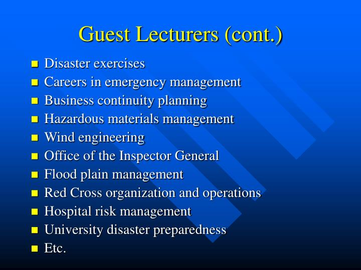 Guest Lecturers (cont.)