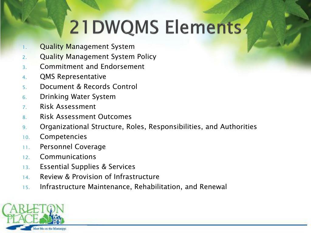 21DWQMS Elements