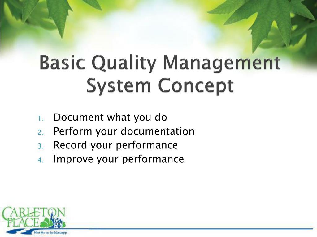 Basic Quality Management System Concept