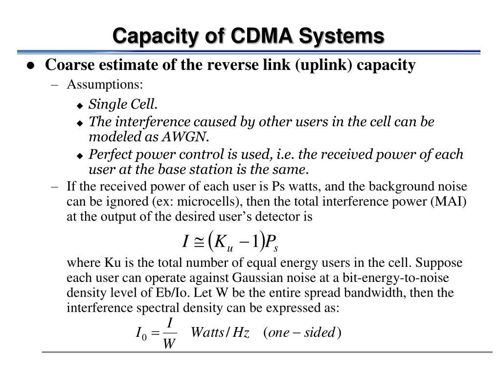 Capacity of CDMA Systems
