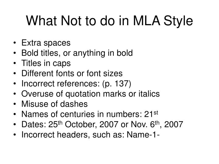 What Not to do in MLA Style