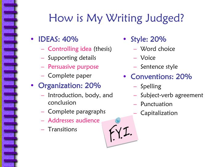 How is my writing judged
