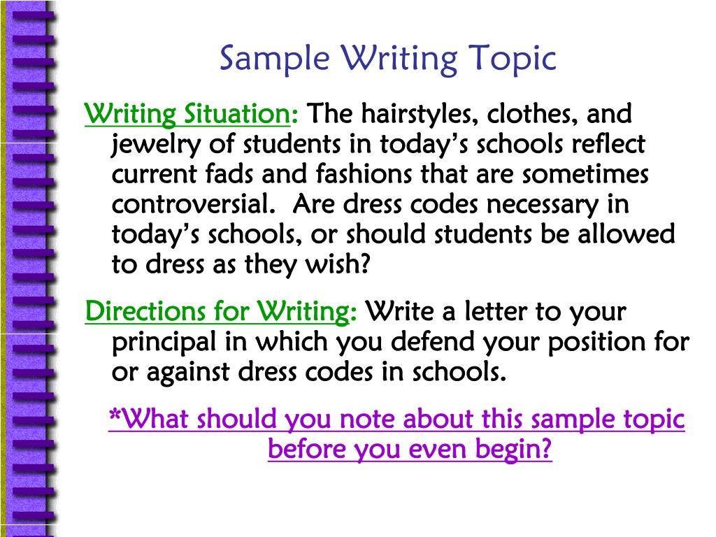 Sample Writing Topic