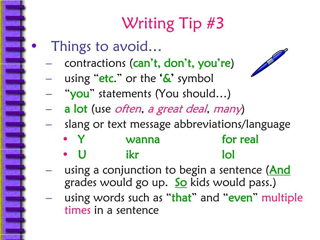 Writing Tip #3