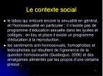 le contexte social