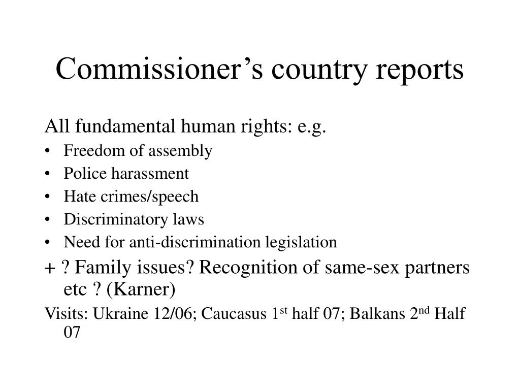 Commissioner's country reports