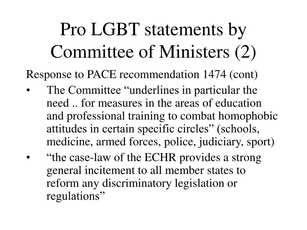 Pro LGBT statements by Committee of Ministers (2)