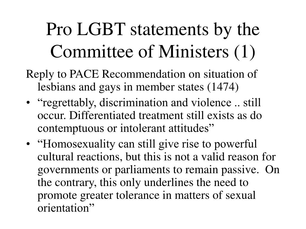 Pro LGBT statements by the Committee of Ministers (1)