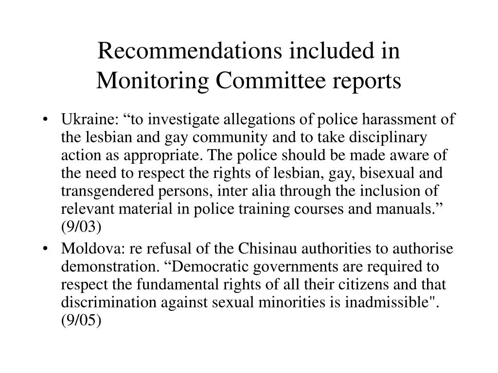 Recommendations included in Monitoring Committee reports