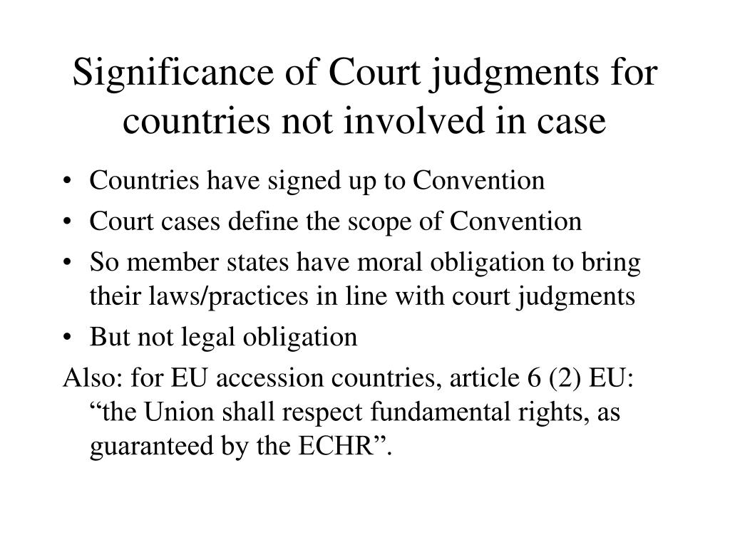 Significance of Court judgments for countries not involved in case