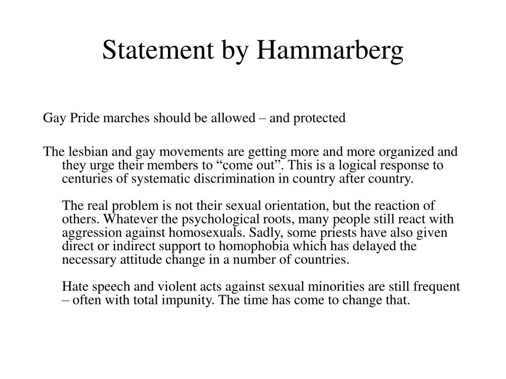 Statement by Hammarberg