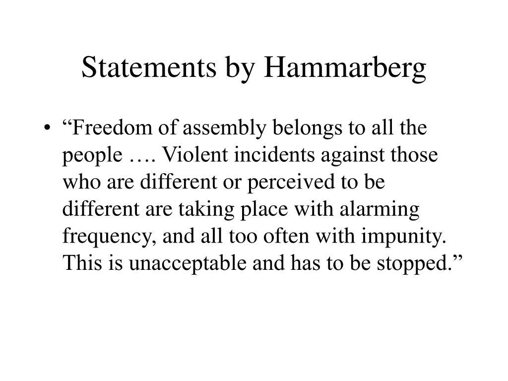 Statements by Hammarberg
