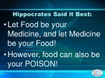 hippocrates said it best
