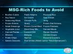 msg rich foods to avoid