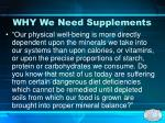 why we need supplements