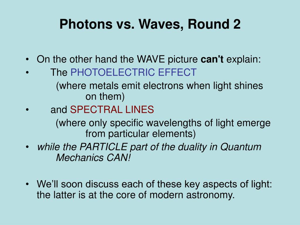 Photons vs. Waves, Round 2