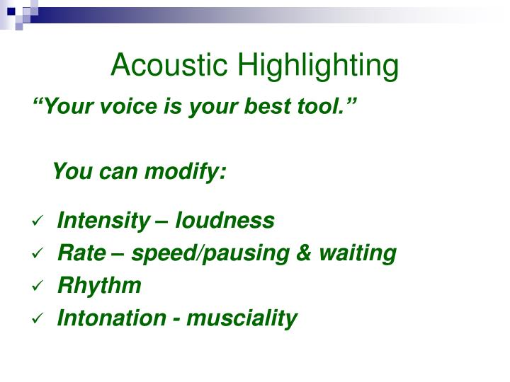 Acoustic Highlighting