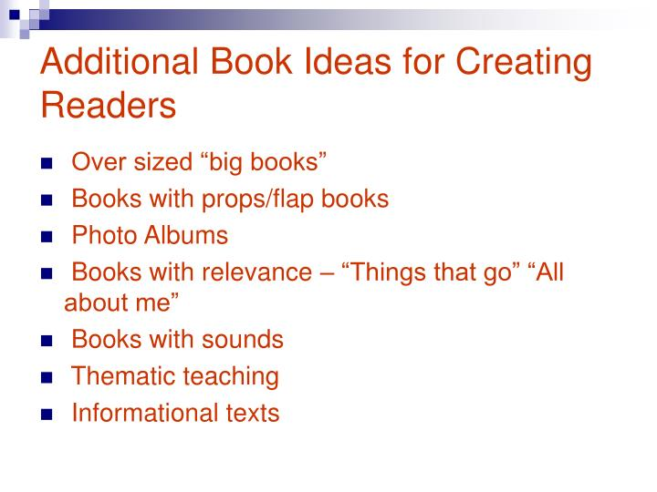 Additional Book Ideas for Creating Readers