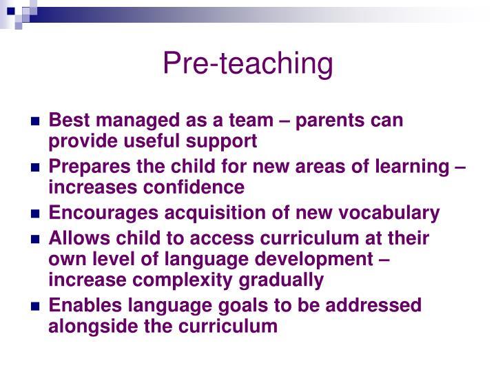 Pre-teaching