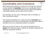 coordinates and invariance