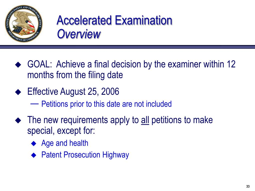 Accelerated Examination