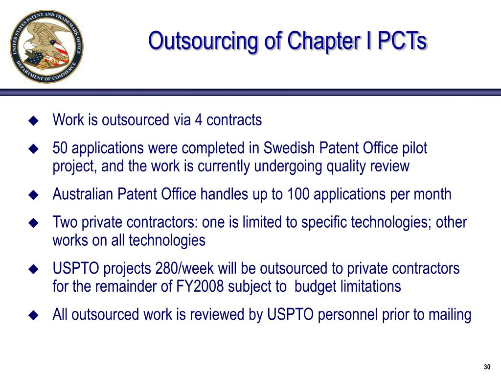 Outsourcing of Chapter I PCTs