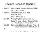 lecture schedule approx