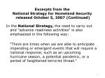 excerpts from the national strategy for homeland security released october 5 2007 continued