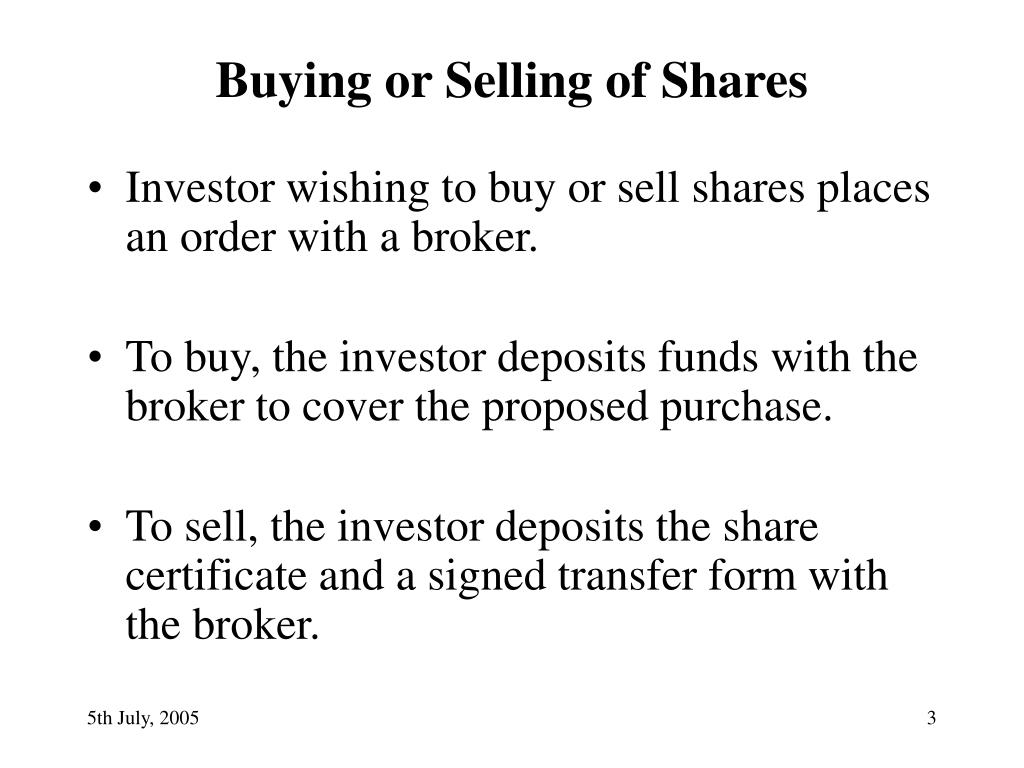 Buying or Selling of Shares