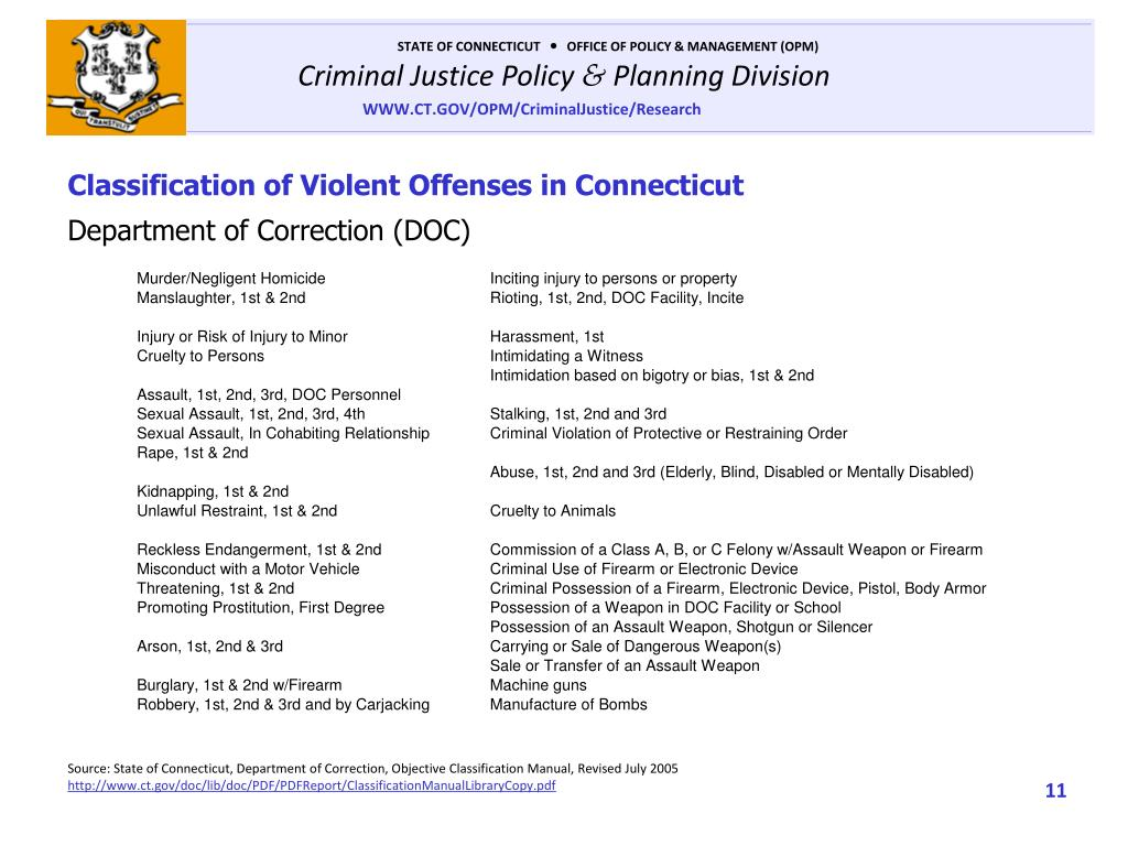 Classification of Violent Offenses in Connecticut