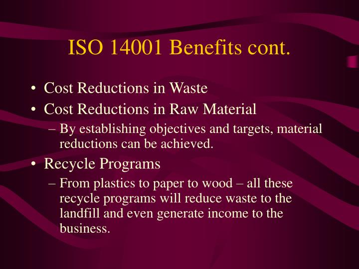 Iso 14001 benefits cont