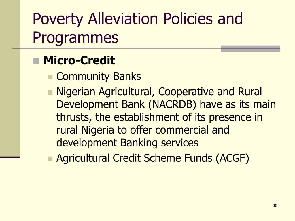 Poverty Alleviation Policies and Programmes