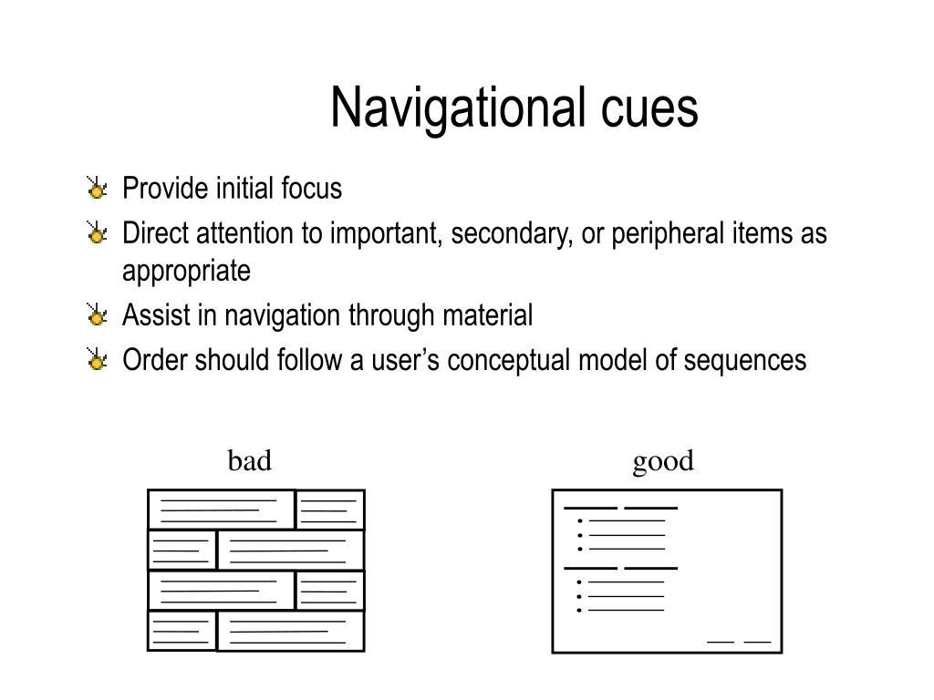 Navigational cues