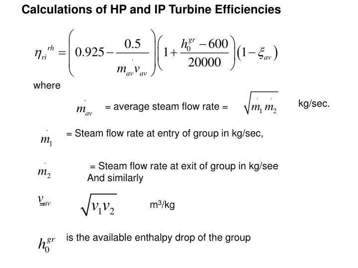 Calculations of HP and IP Turbine Efficiencies