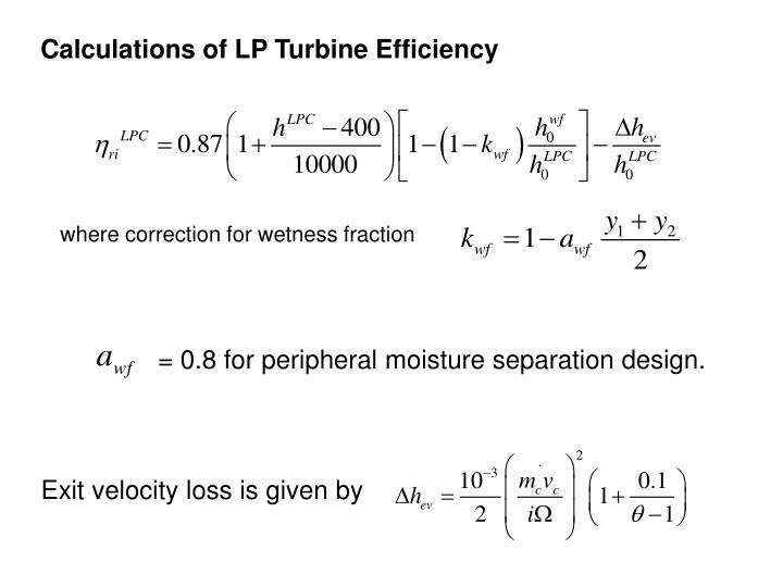 Calculations of LP Turbine Efficiency