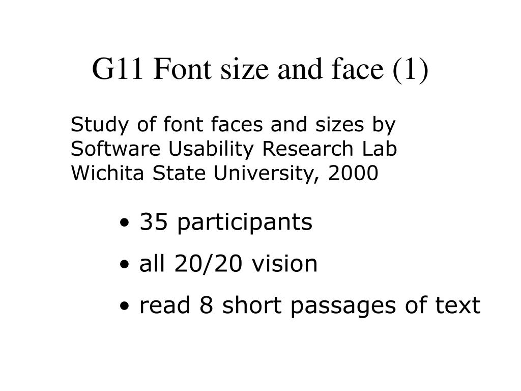 G11 Font size and face (1)