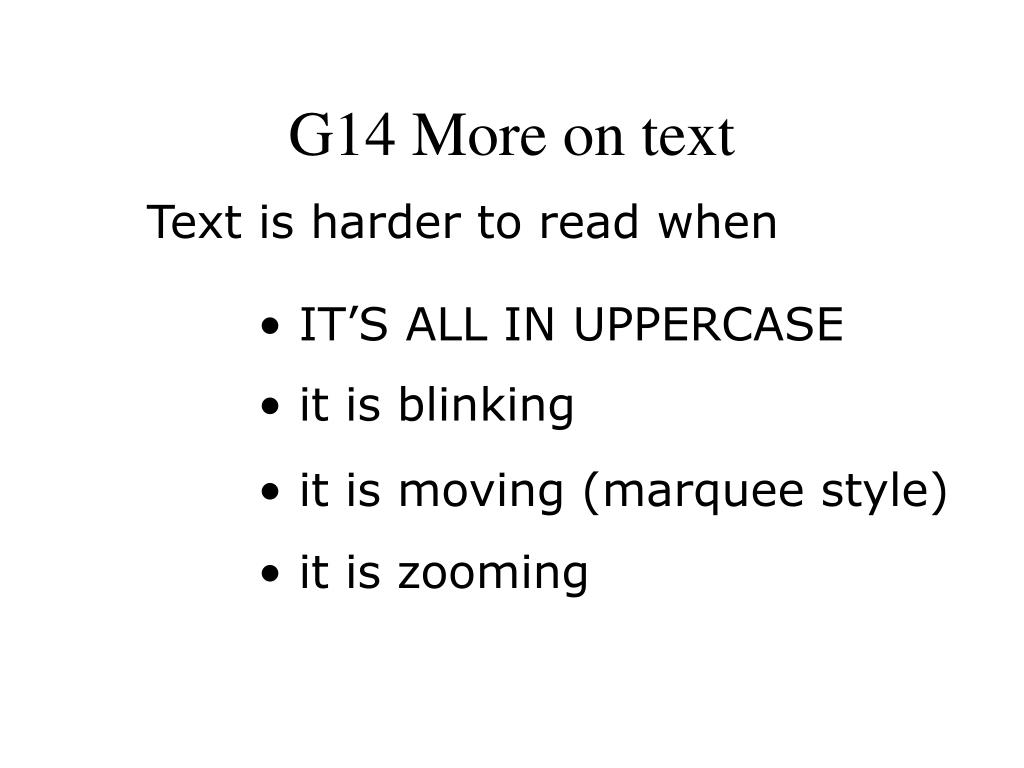 G14 More on text