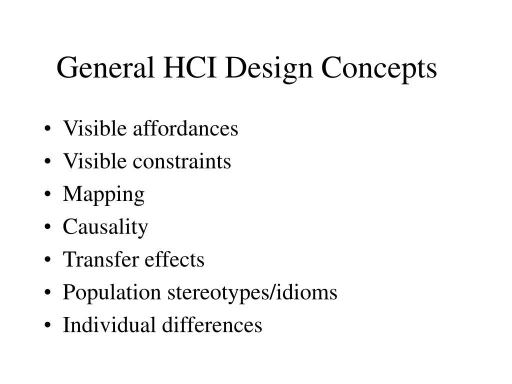 General HCI Design Concepts