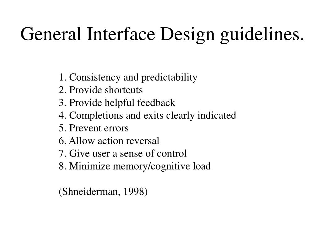General Interface Design guidelines.