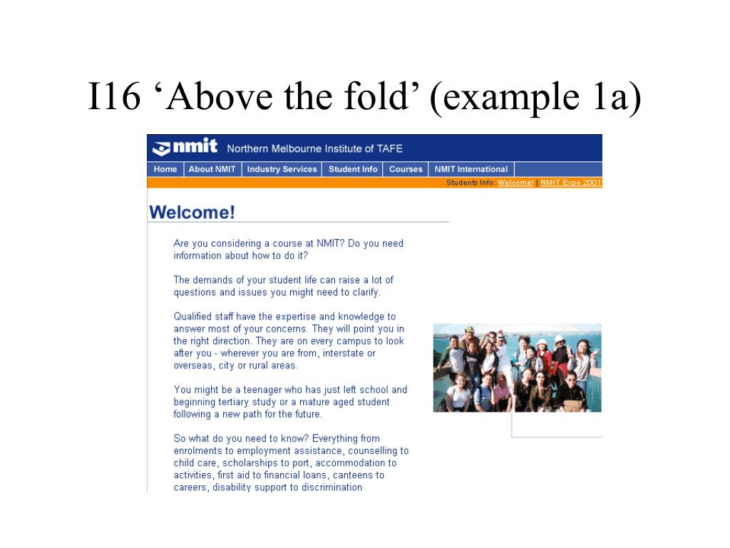 I16 'Above the fold' (example 1a)