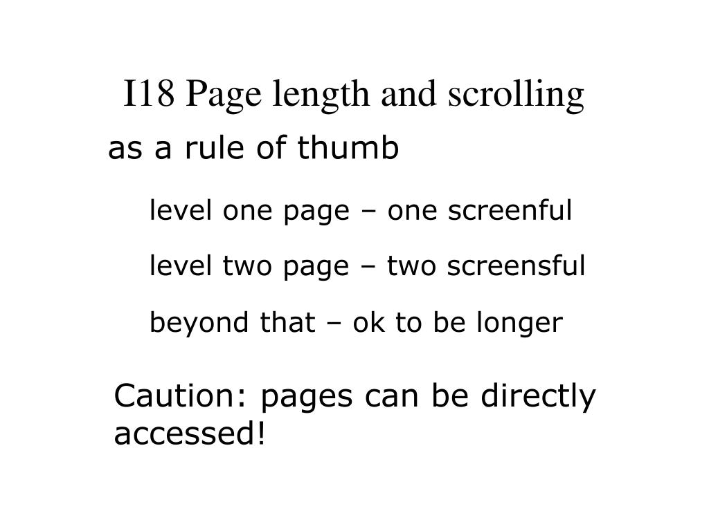 I18 Page length and scrolling