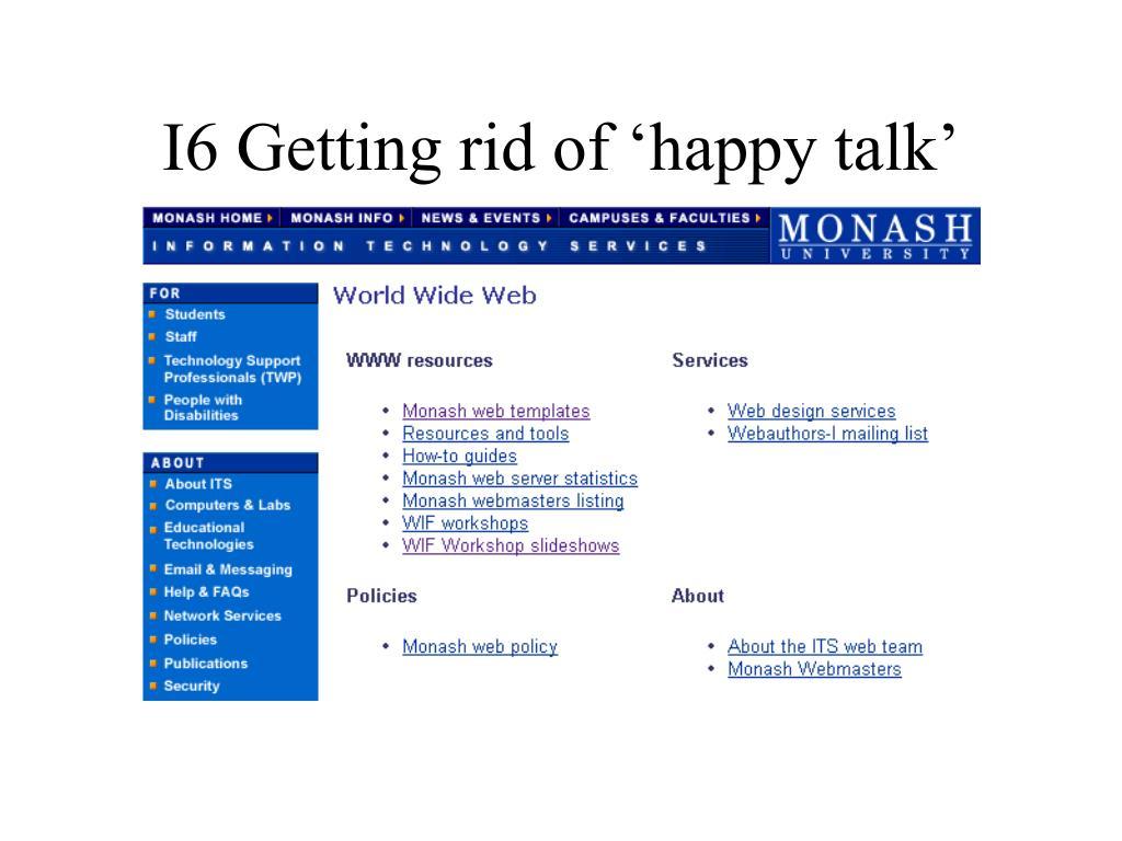 I6 Getting rid of 'happy talk'