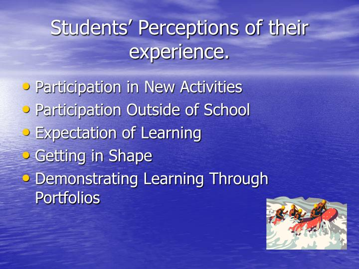 Students' Perceptions of their experience.