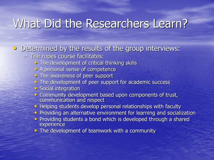 What Did the Researchers Learn?