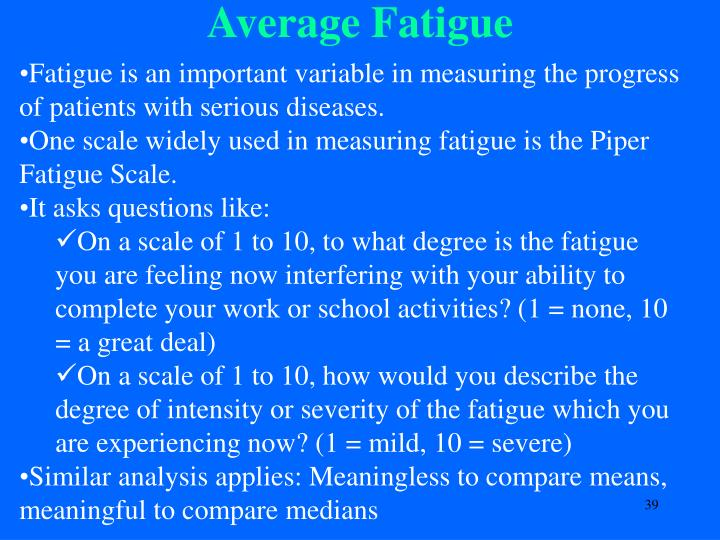 Fatigue is an important variable in measuring the progress of patients with serious diseases.