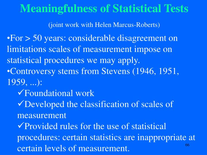Meaningfulness of Statistical Tests