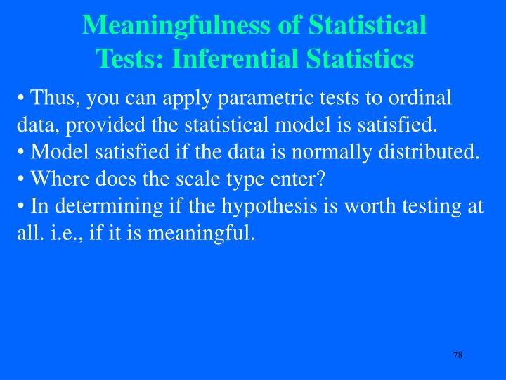 Meaningfulness of Statistical